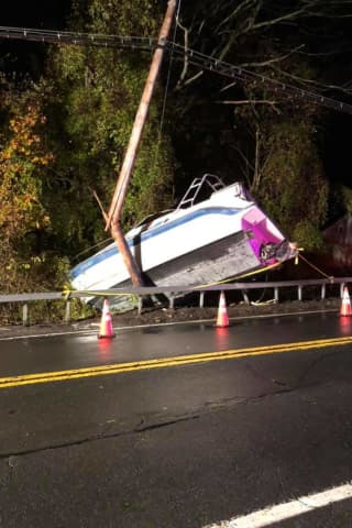 Driver Leaves Scene After Boat Crashes Into Utility Pole In Westchester, Police Say