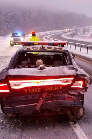 State Trooper Narrowly Escapes Injury After Patrol Car Gets Hit On Taconic Parkway