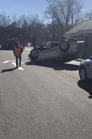 Driver Loses Control Of Vehicle, Lands On Roof At Merritt Service Plaza In Greenwich