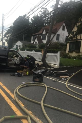 Driver Strikes Pole On Busy Greenburgh Road