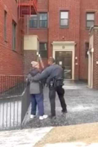 White Plains Officer Comes To Aid Of Citizen In Need Amid Storm