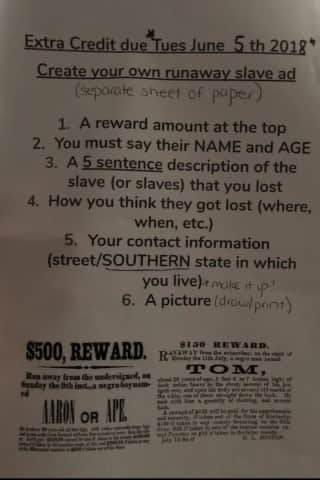 Students At Hudson Valley Middle School Asked To Create 'Runaway Slave' Ad